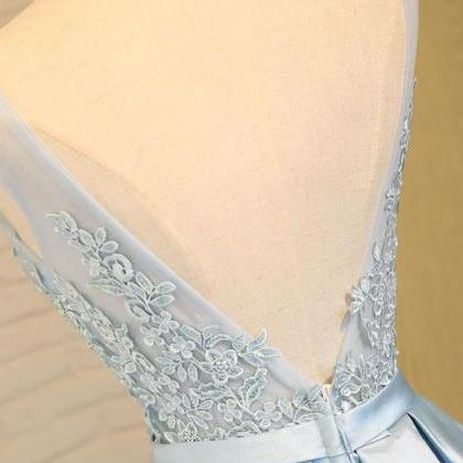 Light Blue Prom Dress, Appliques Pr..