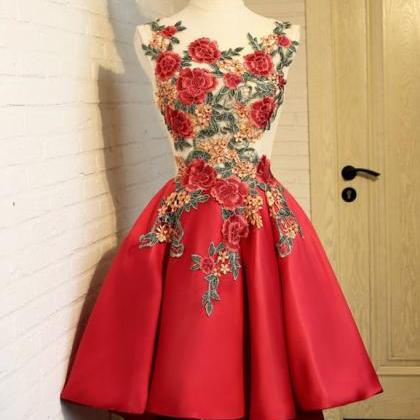 Sexy Appliques Prom Dress, Red Prom..