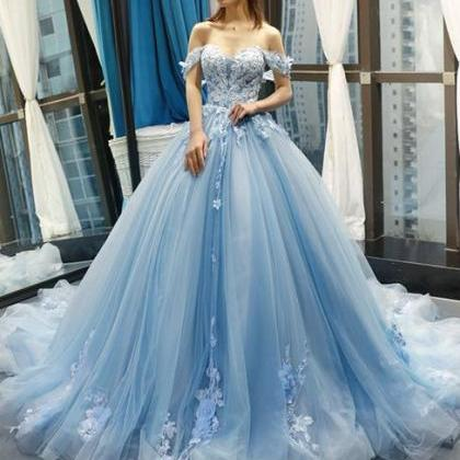 Blue Off the Shoulder Ball Gown Tul..
