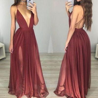 Simple Long Evening Dress,Sleeveles..