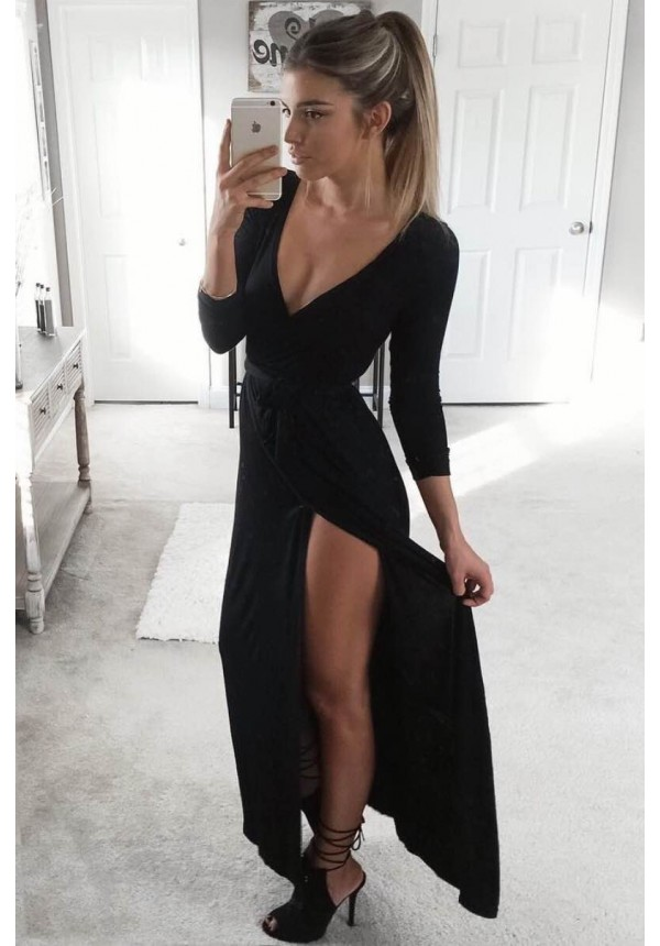 Sexy A Line Prom Dress With Slit 34 Long Sleeve Chiffon Evening