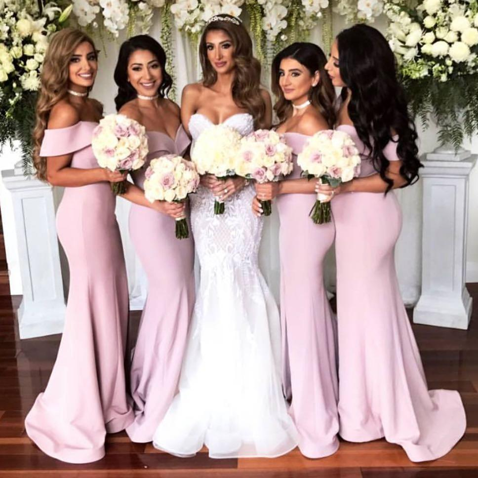 67cfbc2674958 Off Shoulder Sexy Mermaid Bridesmaid Dresses 2018, Formal Pink Wedding  Party Gowns