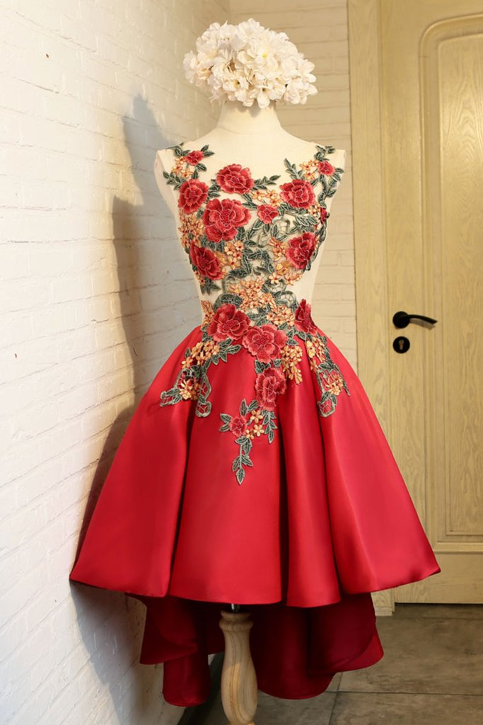 Sexy Appliques Prom Dress, Red Prom Dress, Short Homecoming Dress CF189