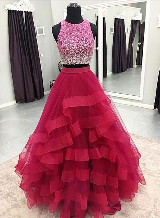 Elegant Crystal Beaded Two Piece Prom Dress, Sleeless Evening Dress, Long  Prom Dresses CF956