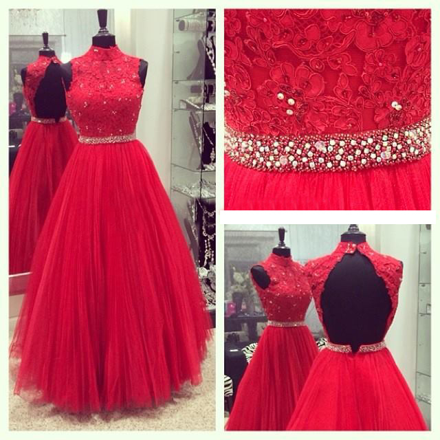 Charming Evening Dress, Appliques Red Tulle Long Prom Dresses, Open Back Evening Dress CF1157