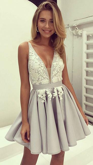 Sexy Sleeveless Prom Dress, Cute Prom Gown, Mini Appliques Party Dress