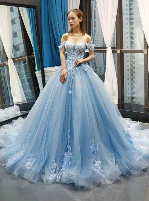 Blue Off the Shoulder Ball Gown Tulle Prom Dress, Sexy Appliques Tulle Evening Dress, Sweet 16 Dresses for Teens