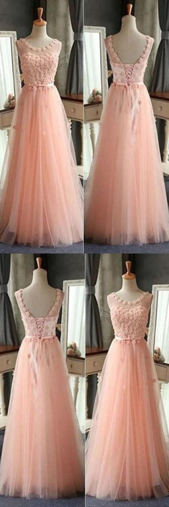 Elegant Tulle Appliques Floor Length Prom Dress, Cheap Lace up Homecoming Dress