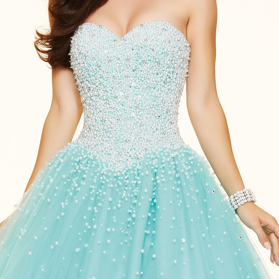 Bg40 Sparkly Luxury Ball Gown,Sweetheart Fully Pearls Corset Bodice ...