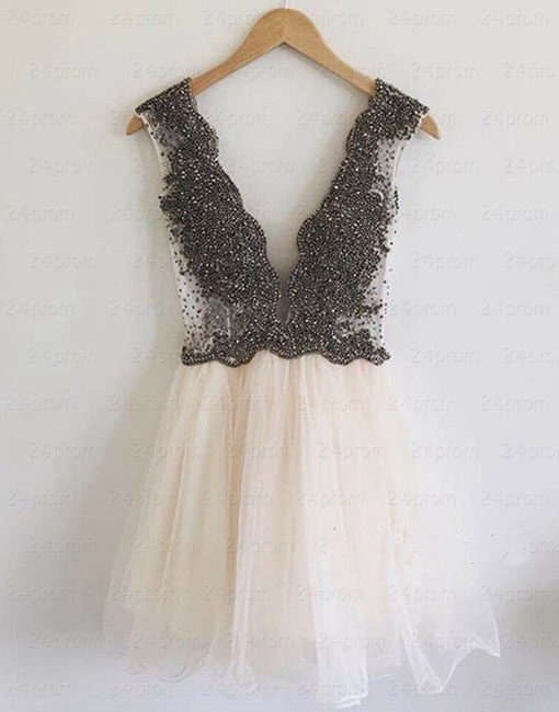 Bg99 Deep V Neck Prom Dres,Cute Prom Dress,Short Homecoming Dress ...