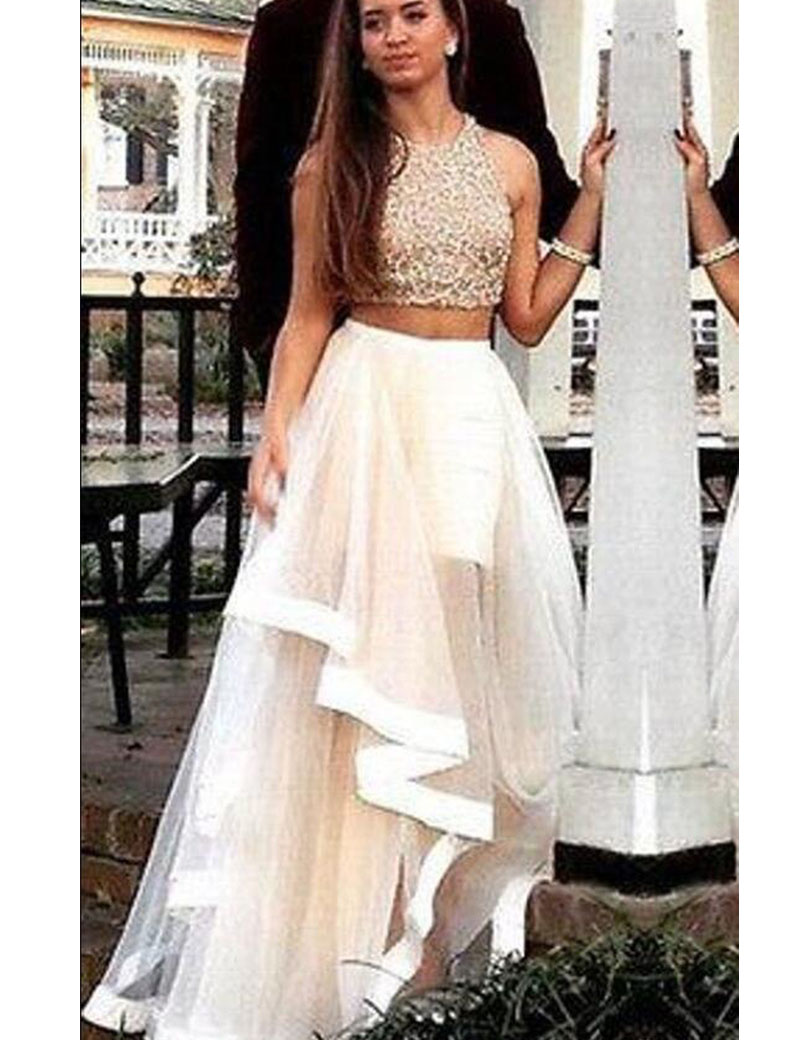 Vintage Lace Two Pieces Prom Dresses, Champagne Tulle Formal Party ...