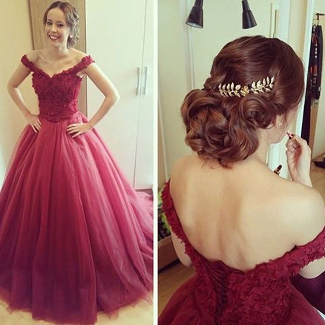 Burgundy Off Shoulder Puffy Prom Dresses,Applique Tulle Court Train ...