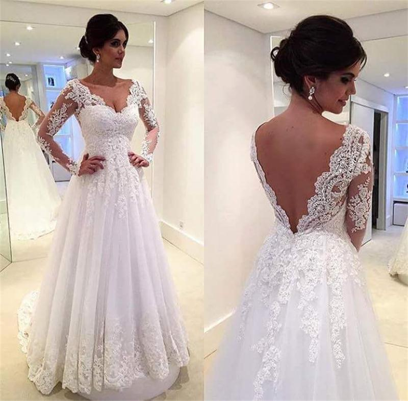 Simple White Vintage Wedding Dress V-Neck Lace Appliques Sheer Long ...