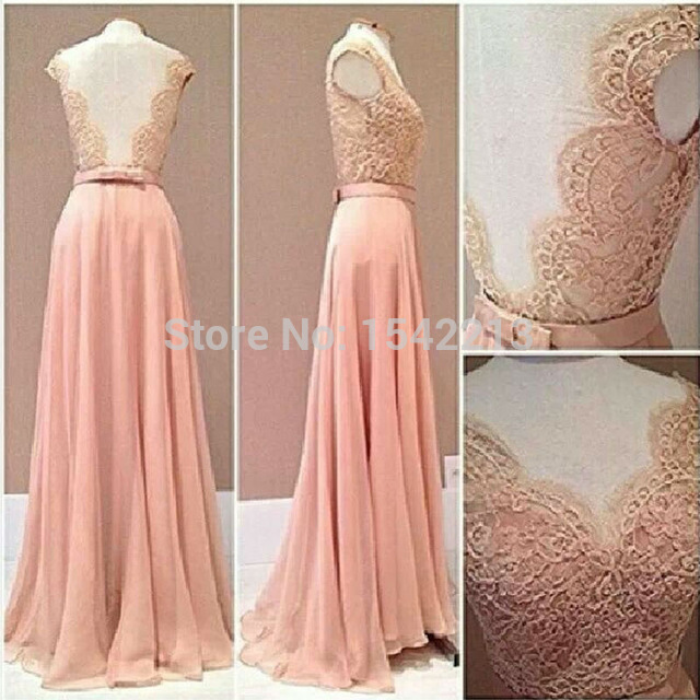 Custom Made Lace Rude Style Prom Dress Blush Pink Chiffon Evening Gowns