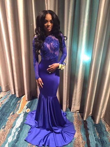 New Arrival Long Sleeve Mermaid Evening Dress,Full Sleeve Prom Gown,Dark Blue Prom Dress