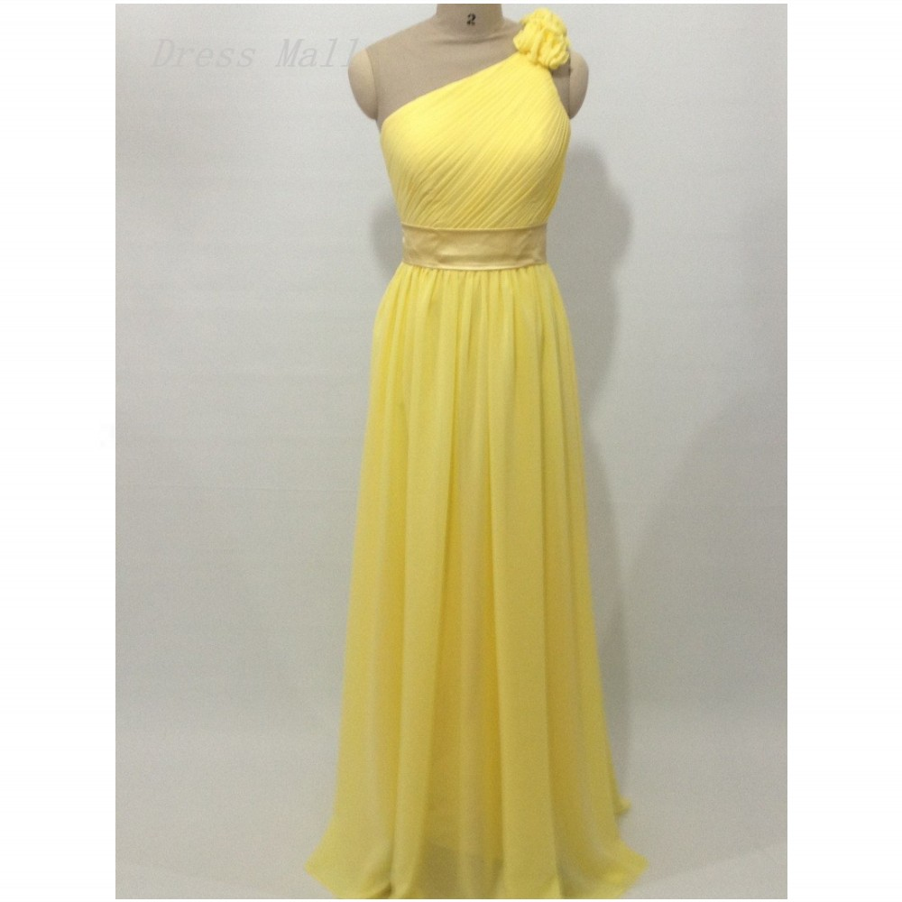 One Shoulder Prom Dress,Prom Gown,Chiffon Yellow Evening Formal ...