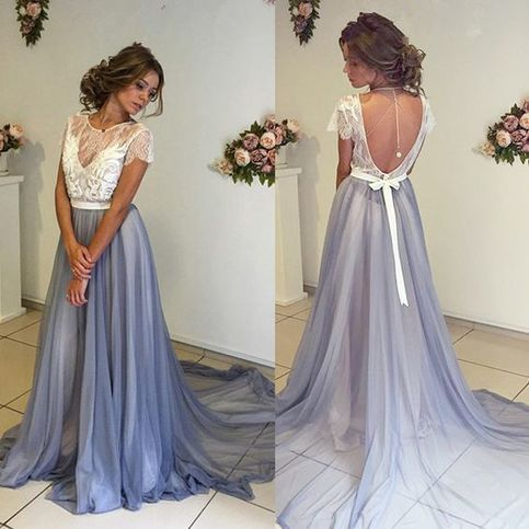 Short Sleeve Prom Dress,New Arrival Long