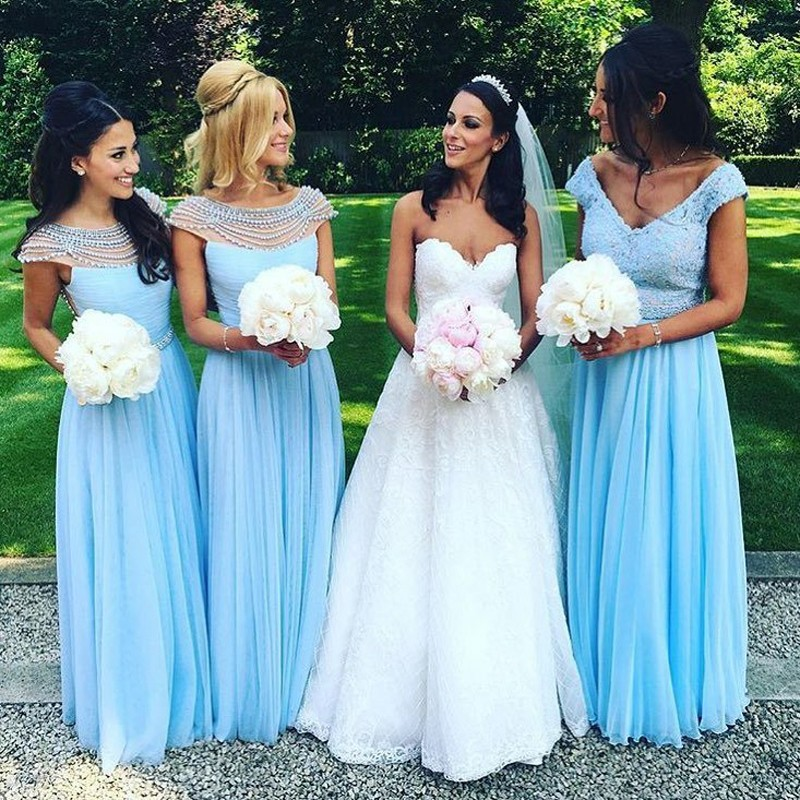 Cap Sleeve Light Blue Bridesmaid Dress Elegant Wedding Party Long Dresses