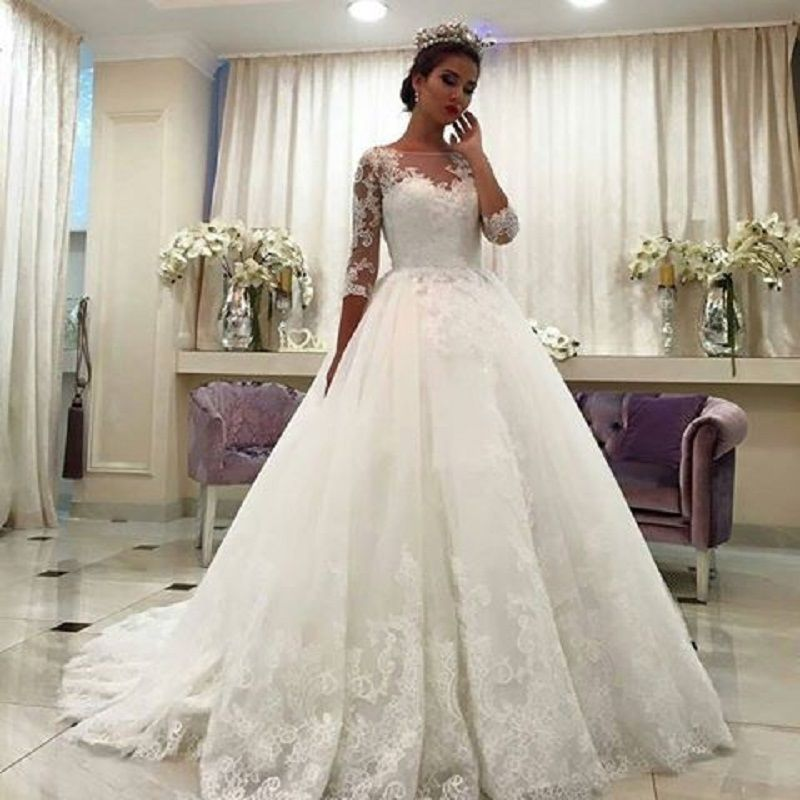Jieruize White Simple Backless Wedding Dresses 2019 Ball: Gorgeous Ball Gown Wedding Dresses, Puffy Lace Beaded