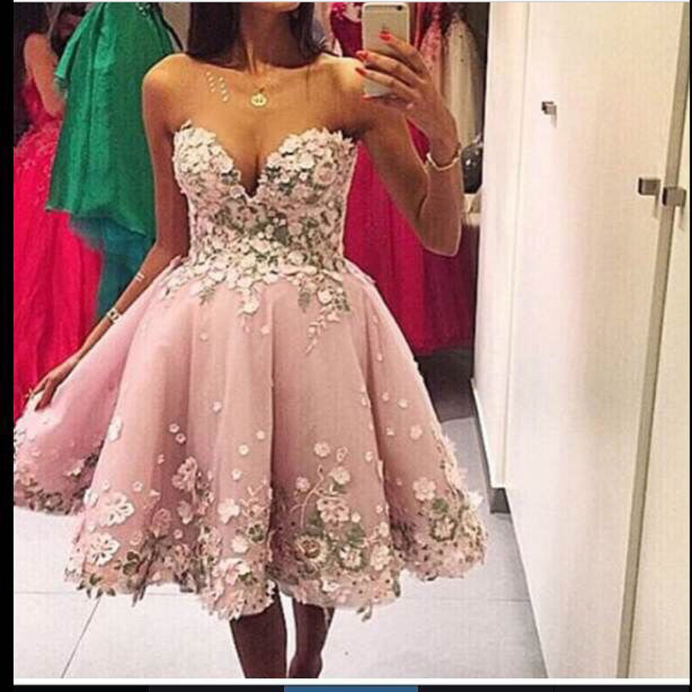 Elegant Sweetheart Appliuqed Flower Sleeveless Knee Length Short Prom Dresses