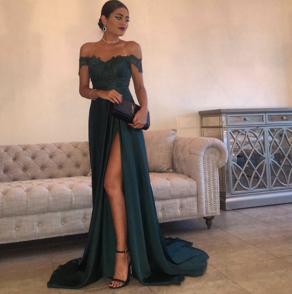 fa549b754b0 A Line Navy Green Chiffon Prom Dress
