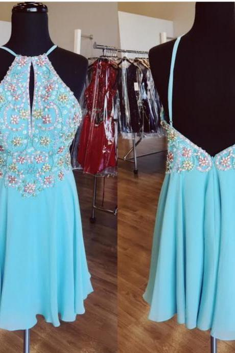 Sexy Prom Dress,Blue Prom Dress,Open Back Cocktail Dress,Short Party Dress