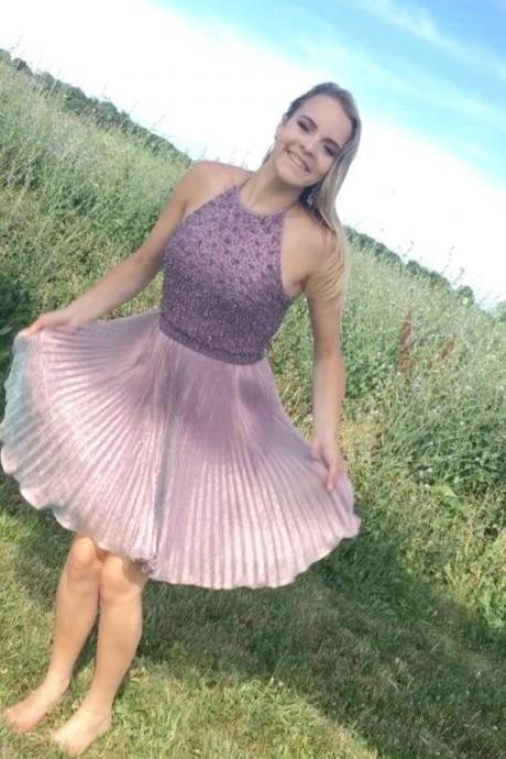 Charming Prom Dress,Elegant Evening Dress,Purple Halter Tulle Prom Dress,Sexy Prom Dresses,Short Homecoming Dress