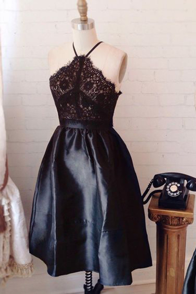 Charming Prom Dress,Lace Prom Dress,Sleeveless Prom Gown,Short Party Dress