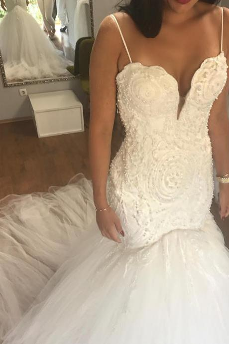 Charming Wedding Dress,Sexy Spaghetti Straps Wedding Dresses,Mermaid Wedding Gown,Tulle Bridal Dress