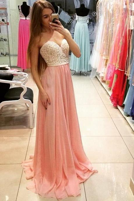 Charming Prom Dress,Pink Chiffon Evening Dress,Sweetheart Prom Dresses,Sexy Prom Party Dresses,Long Homecoming Dress