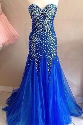 Charming Prom Dress,Tulle Evening Dress,Crystal Beaded Mermaid Evening Dresses,Formal Dress