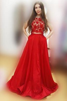 Charming Prom Dress,Red Prom Dresses,Lace Evening Dress,Long Homecoming Dress,Sleeveless Prom Dresses