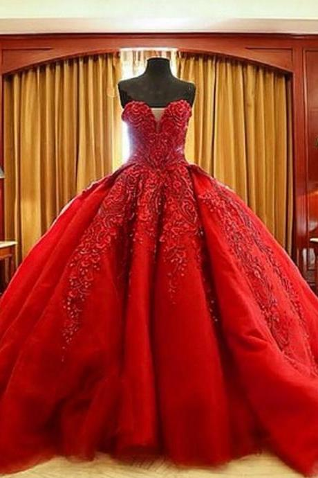 Charming Prom Dress,Red Tulle Ball Gown Prom Dresses,Sexy Appliques Evening Dress,Long Prom Dresses,Formal Gown