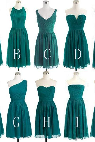 Custom Made Teal Green Short Chiffon A-Line Evening Dress, Prom Dresses, Bridesmaid Dresses, Bridal Collection