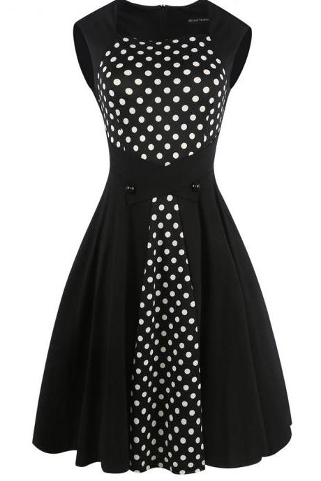 50s Vintage Rockabilly Style Halter Polka Dots Retro Party Dress