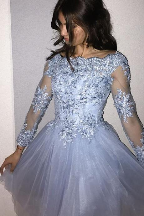 Charming Prom Dress,Long Sleeve Homecoming Dress, Appliques Tulle Homecoming Dresses,Short Prom Dress,Prom Gowns