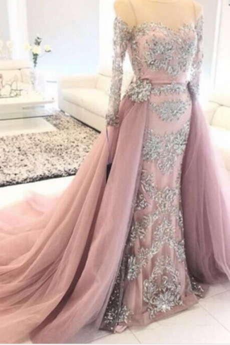 Charming Prom Dress, Sexy Evening Dress, Appliques Evening Dress, Long Sleeve Evening Dresses, Formal Dress