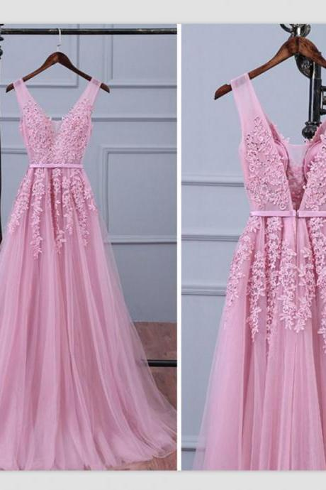 Charming Prom Dress, A Line Appliques Prom Dress, Elegant Tulle Prom Dress, Long Evening Dress