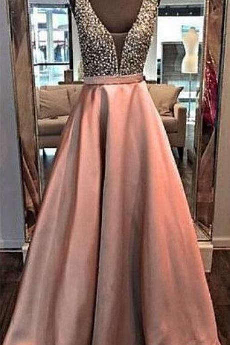 Charming Prom Dress, A Line Evening Dress, V Neck Prom Dress, Long Prom Dresses, Beaded Evening Formal Dress