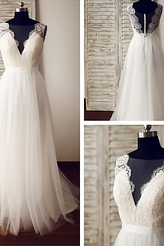 Charming Wedding Dress, Appliques Wedding Dress, A Line Wedding Gown