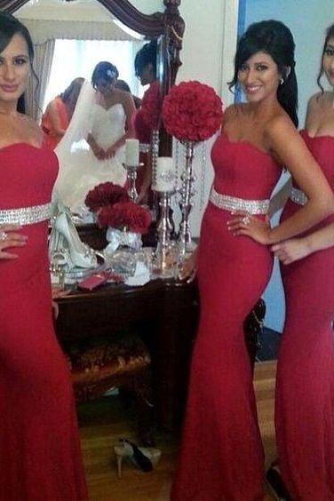 Strapless Red Beading Mermaid Prom Dress, Floor Length Evening Dress, Sexy Bridesmaid Dress