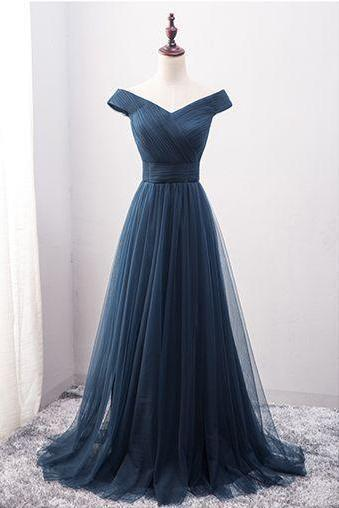 Off Shoulder Navy Blue Tulle Prom Dress , Sweep Train Evening Dresses, Elegant Long Homecoming Dress