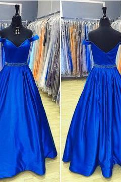Charming Prom Dress, Sexy Off Shoulder Prom Dresses, Satin Homecoming Dress Long Evening Dresses