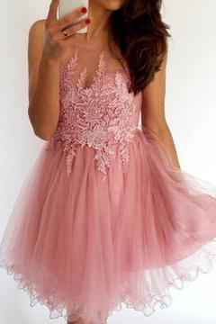 Sexy Lace Tulle Homecoming Dress, Short Homecoming Dresses, Short Cute Prom Dress