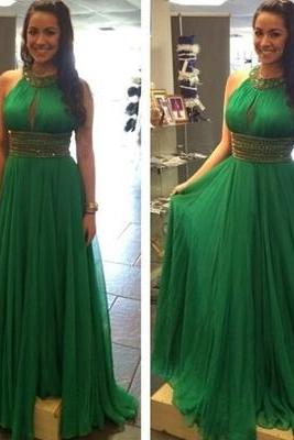 Sexy O Neck Chiffon Evening Dress, Dark Green Sleeveless Long Prom Dresses