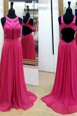 New Arrival Pretty Chiffon Evening Dresses Backless Long Formal Evening Dress