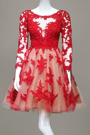 Elegant Appliques Red Homecoming Dresses Long Sleeve Tulle Short Prom Dress