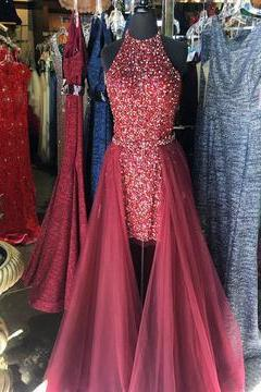 Evening Prom Dresses Detachable Train Beaded Tulle Short Evening Dress
