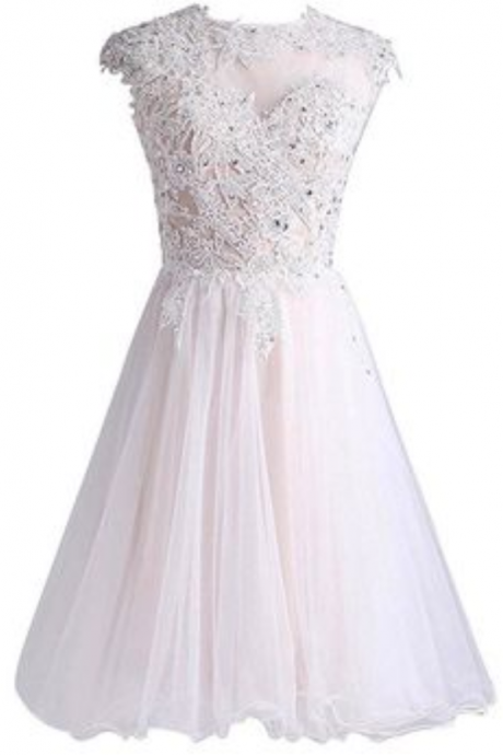 Elegant Short Homecoming Dress,Sparkly A-line Appliques Graduation Dress, Tulle Party Dress