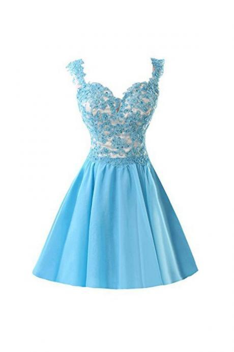 Blue Homecoming Dress Appliques Lace Prom Dress, Short Prom Gowns